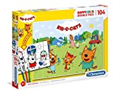 Clementoni- PZL 104 Colorear Kid Y Cats Puzzle Infantil, Multicolor (25707)