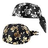 PRETYZOOM Calavera de Halloween Gorro de Cabeza Deportiva Piratas Sombrero Pañuelo Sombreros Turbante Bufanda de Pelo para Mujeres Adultos Hombres 2 Piezas