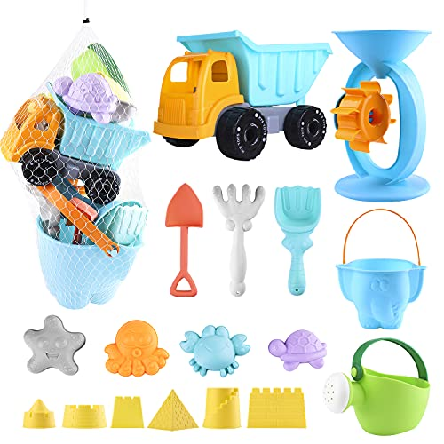 Biulotter 20Pcs Kids Beach Sand Toys Set Sand Water Wheel, Castle Molds, Truck Bucket, Beach Shovels RakesTool Kit, Hourglass, Sea Animal Molds, Watering Can, with Mesh Backpack Sandbox