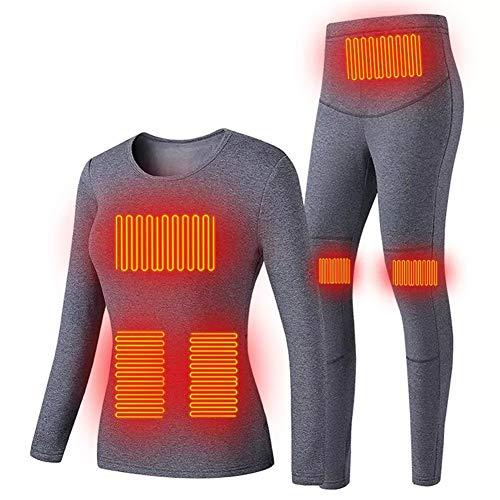 BEIAKE Calefacción USB aislante para hombres y mujeres 3 controles de temperatura, 5 zonas de calefacción, ropa interior elástica lavable para ciclismo al aire libre, esquí femenino, gris, XXL