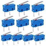 Twidec /10Pcs Mini Micro Limit Switch 5A 125 250V AC SPDT 1NO Short Lever Arm Switch Snap Action Button Type 2 Pins KW11-3Z08