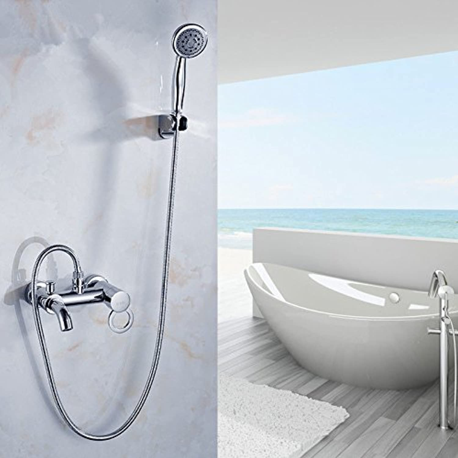 Hlluya Professional Sink Mixer Tap Kitchen Faucet The brass flush mount hot and cold faucets + solar water valve on the bath tub shower faucet