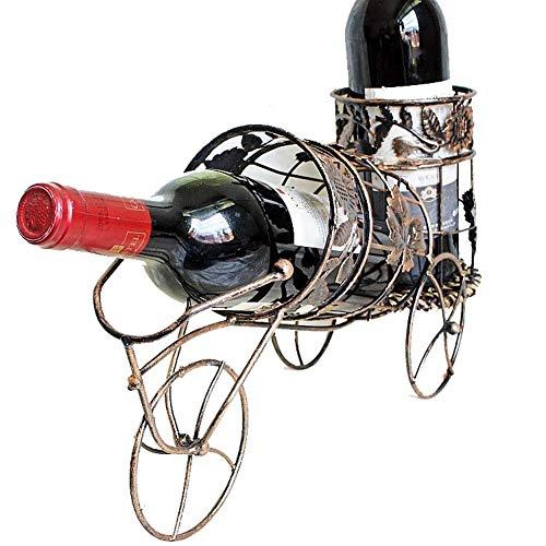 Estilo retro moderno Estante de vino europeo, Arte de hierro, Titular de la botella de vino, Bronce, Vine Coche Hierro forjado, Taller de vino Pantalla de vino en Pantalla de Cabalina Cocina Sala de e