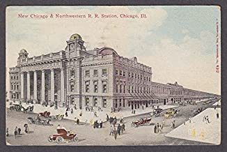 New Chicago & Northwestern Railroad Station Chicago IL postcard 1911