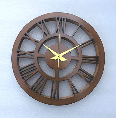 A One Shoppe Engineered Wooden Roman Clock (Color –Brown) Size-12 inches Round
