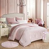 MMM Fibra di soia e primavera in autunno Quilt Jacquard più spessa Keep Bedding doppia in inverno caldo ( Colore : Rosa , dimensioni : 220*240 centimetri )