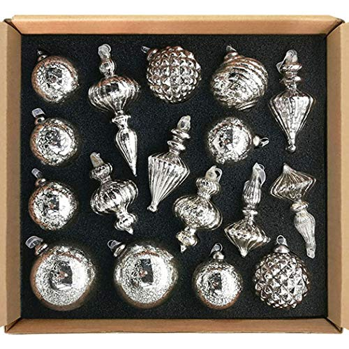 glasburg Mercury Glass Christmas Ornaments Antique Silver...