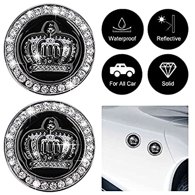OIIKI 2PCS 3D Crown Car Emblem Badge Decals, Bling Diamond Metal Crown Emblems Badges Bumper Stickers, Automotive Exterior Accessories for Auto SUV Truck Motorcycle (Black&Silver) from OIIKI