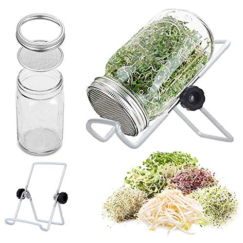 Sprouting Jar with Screen Lid-316 Stainless Steel, Wide Mouth Quart Mason Jar Kit Sprouter, Organic Healthy Fresh Broccoli, Alfalfa, for Making Organic Bean Sprout Seeds(Seeds not Included)