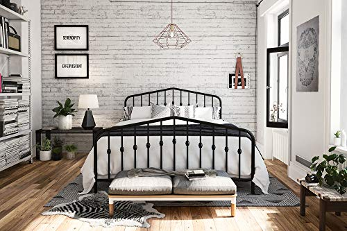 Novogratz Bushwick Metal Bed with Headboard and Footboard | Modern Design | Queen Size - Black