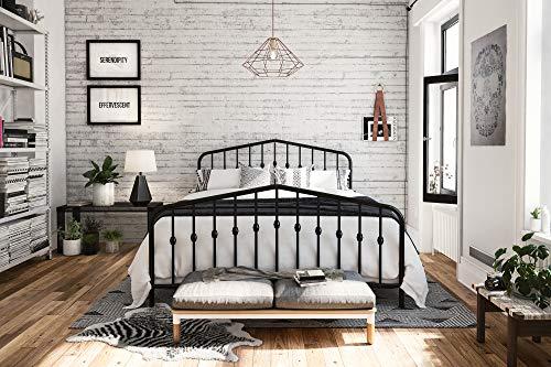 Novogratz Bushwick Metal Bed with Headboard and Footboard | Modern Design | Full Size - Black