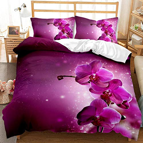 YZDM - Juego de edredón con diseño floral 100% microfibra para jardín floral romántico con cremallera, para mujer en el hogar y mujer