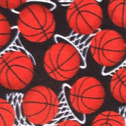 Pico Textiles Basketball Hoops Allover Fleece Fabric - 60' Wide - 3 Yards Bolt - Style# PT1026