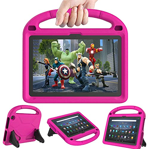 Fire HD 10 & Fire HD 10 Plus Tablet Case for Kids(11th Generation, 2021 Release) - DICEKOO Lightweight Shockproof Kid-Proof Cover with Stand for Kindle Fire HD 10 Kids Tablet & Kids Pro Tablet - Pink