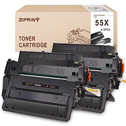 Price comparison product image ZIPRINT Compatible Toner Cartridge for HP 55X CE255X Toner for HP Laserjet P3010 P3015 P3015d P3015dn P3015n P3015x,  HP Enterprise 500 MFP M521dn M521dw M525c M525dn M525f (2 Black)