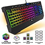 [Upgraded 2020] Gaming Membrane Keyboard with Mechanical Feel Clicks, LED RGB Backlight 104 Keys + 8 Multimedia & Ergonomic Stand - Anti-Ghosting, Palm Rest - for PC/MAC/Computer/Desktop Pro Gamers