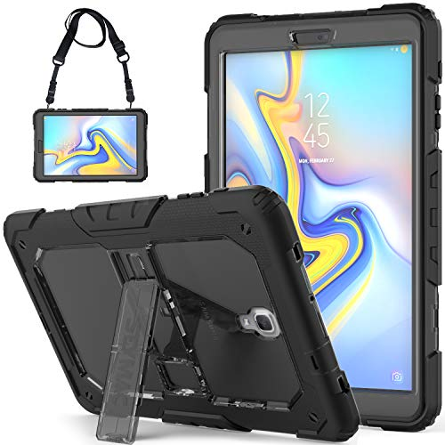 SEYMCY Galaxy Tab A 10.5 Case SM-T590/SM-T595/SM-T597 with Strap Full Body Protective Rugged Shockproof Drop Protection Silicone Bumper Stand Case Galaxy Tab A 10.5'' 2018 Tablet [Black/Gray]