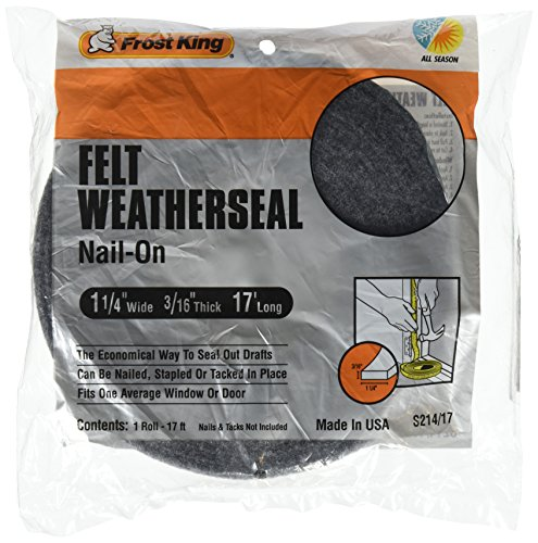 Frost King S214/17H Felt Weather-Strip 1-1/4-Inch by 3/16-Inch by 17-Feet, Grey, 1, Grtay|Grays