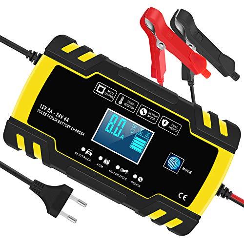 InThoor Caricabatterie e Mantenitore Auto 12V/24V 8A, Carica Batteria per Auto Moto Camion AGM Batterie, Automatico Intelligente Caricabatteria con Schermo LCD(6-150AH)