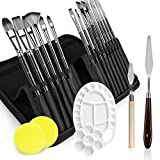 21Pcs Paint Brush Set, Paint Brushes for Acrylic Oil Watercolor Canvas Gouache Painting, Paint Brush with 1 Paint Tray, 2 Palette Knife, 2 Sponges & Carrying Case, Perfect for Artists, Adults & Kids