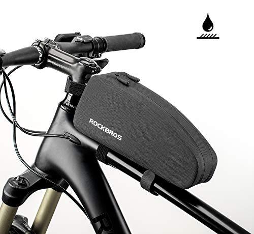 ROCKBROS Fahrrad Rahmentasche wasserdichte Oberrohrtasche für MTB Rennrad 1,6L / 1L Große Kapazität Fahrradzubehör Schwarz