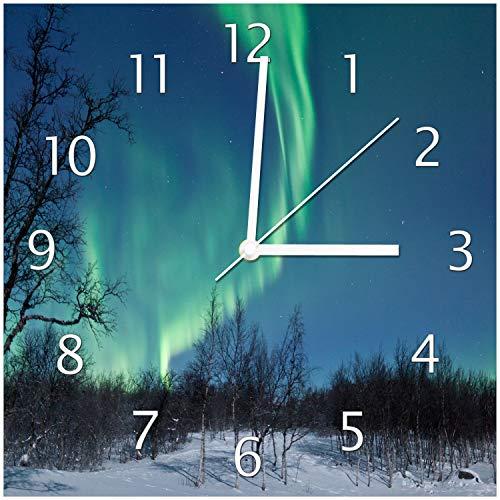 Wallario Glas-Uhr Echtglas Wanduhr Motivuhr • in Premium-Qualität • Größe: 30x30cm • Motiv: Polarlicht in Schweden