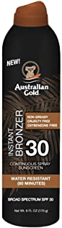 Australian Gold Continuous Spray Sunscreen with Instant Bronzer SPF 30, 6 Ounce | Immediate Glow & Dries Fast | Broad Spectrum | Water Resistant | Non-Greasy | Oxybenzone Free | Cruelty Free