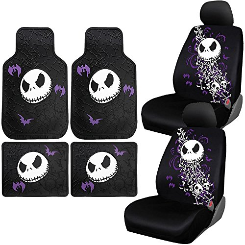 Disney Nightmare Before Christmas Two Seat Covers Floor Mats NBC Bones Universal