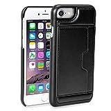 iPhone SE ケース 2020 SE2 ケース SE ケース 第2世代 iPhone8 ケース iPhone7 iphone6s - Rssviss アイフォン6 6s 7 8 五機種対応 カード収納 横置き機能 Qi充電対応 高級PUレザー スポンジ入り 全面保護 防指紋 軽量 (iPhoneSE2/6/6s/7/8兼用) B4 ブラック【4.7inch】