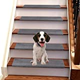 Jorviz Bullnose Carpet Stair Treads Set of 14 Soft Non Slip Self Adhesive Indoor Stair Protectors Pet Friendly Rugs Covers Mats Skid Resistant Washable Rubber Backing Stone Grey (9.5' x 30'x1.2')