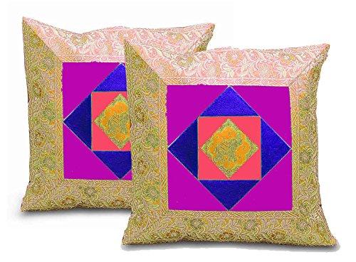 Rastogi Handicrafts Housse de coussin en brocart Zari avec motif éléphant, Soie Polyester, jaune, 40 x 40 Centimeters