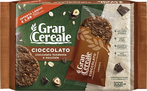 Gran Cereale Cioccolato, Biscotti con Cioccolato Fondente e Nocciole, Confezione 216 g con 6...