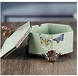 Hexágono joyero tapa cenicero multifuncional oficina en casa cenicero grande sala de estar con tapa de diseño del mango en forma de pájaro,Green
