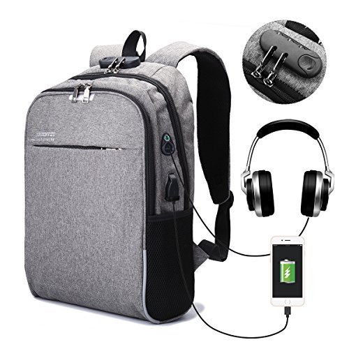 CAMTOA 15.6 inch Laptop Backpack con Serratura,Port di Ricarica USB,Cuffie Jack,Casual
