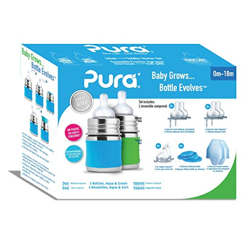 Pura Stainless Starter Gift Set with 5 oz/150 ml Stainless Steel Infant Bottles(2) Silicone Slow-Flow Nipples(2), Medium-Flow Nipples(2), XL Sipper Spouts(2) Sealing Disks(2), Sleeves(2)- Aq&Gr