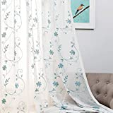 Blue Sheer Curtains 84 Inches Long, Floral Embroidered Rod Pocket Sheer Drapes for Living room, Bedroom, 2 Panels, 52'x84', Semi Crinkle Voile Window Treatments for Yard, Patio, Villa, Parlor .