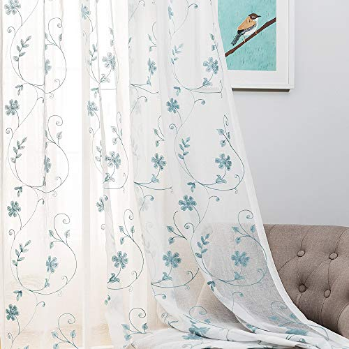 "Floral Embroidery Sheer Curtains Blue 63 Inches, Rod Pocket Voile Drapes for Living Room, Bedroom, Window Treatments Semi Crinkle Curtain Panels for Yard, Patio, Villa, Parlor, Set of 2, 52""x 63""."