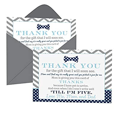 Bow Tie Baby Shower Thank You Cards with Envelopes (15 Pack) Oh Boy Theme Supplies Navy and Grey – Notecard Thanks from Baby Boy - A6 Flat Stationery Set Printed (4 X 6 inches) Paper Clever Party from