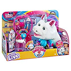 Over 40 sounds and reactions! 5 interactive vet accessories and get well certificate. Light up, colour-changing horn! 2 play modes: Rainglow mode and Magical Vet mode. She makes cute Unicorn sounds and is sooo soft and cuddly!