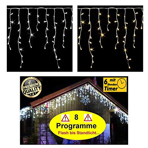 600 / 400 LED PREMIUM Eisregen Lichterkette ges. 20m / 15m mit 8 Funktionen / Effekte (Flash bis Standlicht ect.) + Timer warmweiss oder kaltweiss Eiszapfen Effekt IP44 Weihnachtsbeleuchtung-Weihnachtsdeko-Eisregenkette (400 LED WARMWEISS)