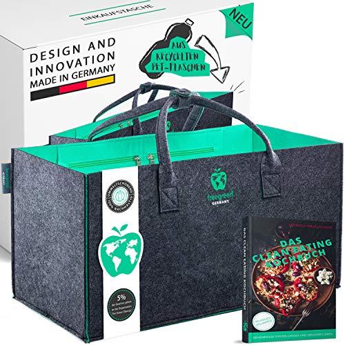 freegreen® Premium Einkaufstasche aus recycelten PET-Flaschen I 100% nachhaltig & umweltbewusst I Nachhaltige Produkte I Unzählige Anwendung als Einkaufskorb I Filztasche I Kaminholzkorb I Filzkorb