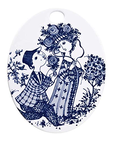 BW Oval Plate. Roses. blue. 15 19 cm