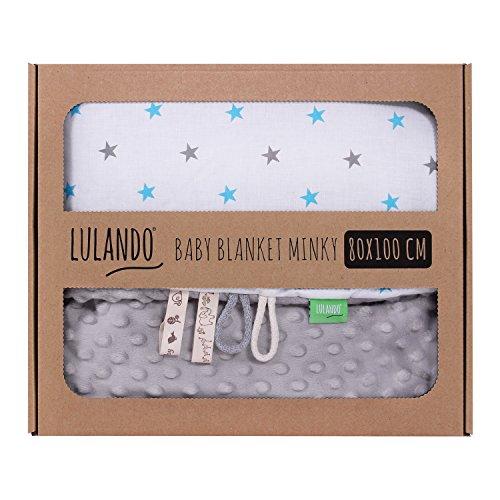 LULANDO Copertina da neonato Coperta per bambino 100% cotone (80x100 cm). Super morbido e soffice, materiale antiallergico, traspirante, Oeko-Tex Standard 100. Colore: Grey - Blue/Grey Stars