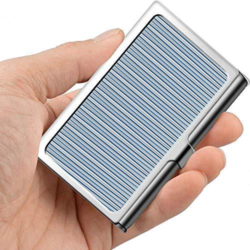 Rayas geométricas Medialunas alargadas Azul Plata Divertido Estuche para tarjetas de presentación Portatarjetas de visita para mujeres Metal profesional 3.81x 2.7 X 0.29 pulgadas Estuche par