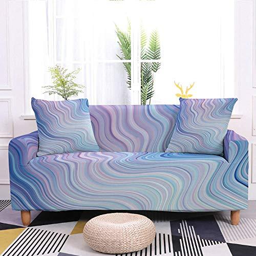 Fundas elásticas para sofá, fundas elásticas estampadas, 3D azul morado con estampado de ondas, tela elástica de poliéster duradera, antideslizante, funda universal para sofá, 3 plazas, 190 y 230 cm