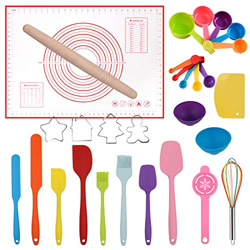 Silicone Spatula Set Rolling Pin Cookie Cutters Pastry Mat Measuring Spoons and Cups Pinch Bowls Dough Scraper, Kitchen Tools Cookware Cooking Baking Supplies 29 PCS