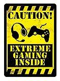 Sary buri Metal Tin Sign Poster Caution Extreme Gaming YELLOWCartel De Arte De La Pared Decoraciónon