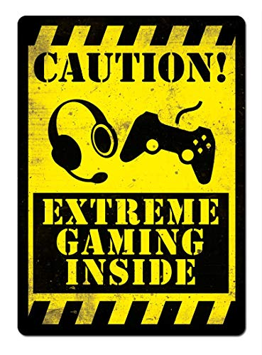 Sary buri Metal Tin Sign Poster Caution Extreme Gaming YELLOWCartel De Arte...