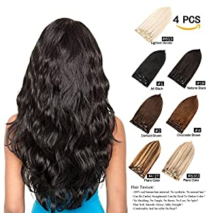 Beauty Shopping GEELOOK 14″ Clip in Hair Extensions Double Weft 100% Remy