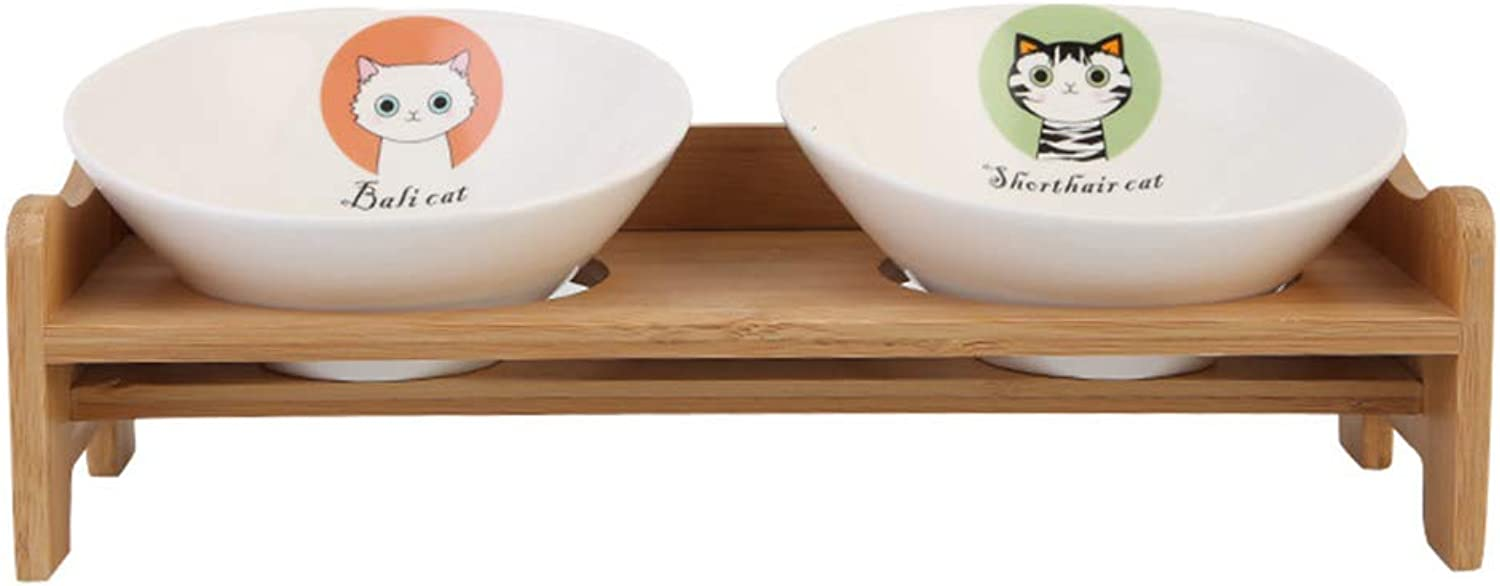 QIQIPET Pet Cat Dog Feeder Bowls Food Water Feeding Ceramic Bowls Tilt Design with Wooden Bamboo Stand (Style   C)